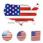 fully editable vector flag of america in map and web buttons shapes Stock Photo - Royalty-Free, Artist: pilgrimartworks, Code: 400-04164534