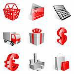 Set of 9 red shopping icons.