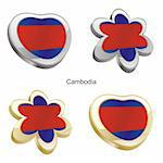 fully editable vector illustration of cambodia flag in heart and flower shape Stock Photo - Royalty-Free, Artist: pilgrimartworks, Code: 400-04165017
