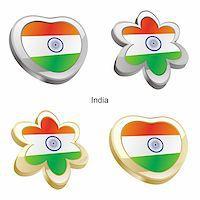 pennant flag - fully editable vector illustration of india flag in heart and flower shape Stock Photo - Royalty-Freenull, Code: 400-04165334