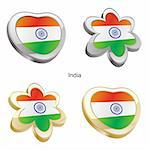 fully editable vector illustration of india flag in heart and flower shape Stock Photo - Royalty-Free, Artist: pilgrimartworks, Code: 400-04165334