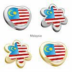 fully editable vector illustration of malaysia flag in heart and flower shape Stock Photo - Royalty-Free, Artist: pilgrimartworks, Code: 400-04165356