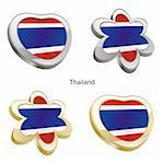 fully editable vector illustration of thailand flag in heart and flower shape Stock Photo - Royalty-Free, Artist: pilgrimartworks, Code: 400-04165449