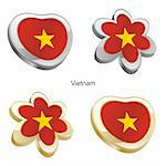 fully editable vector illustration of vietnam flag in heart and flower shape Stock Photo - Royalty-Free, Artist: pilgrimartworks, Code: 400-04165458