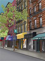 restaurant new york manhattan - Street in new york city Stock Photo - Royalty-Freenull, Code: 400-04167143