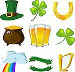 St. Patrick's Day set: leprechaun hat, four-leaf clovers, golden horseshoe, pot of coins, beer, trifoliate clover, rainbow, banners, harp. Stock Photo - Royalty-Free, Artist: jara3000, Code: 400-04169311