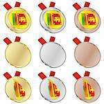 fully editable sri lanka vector flag in medal shapes Stock Photo - Royalty-Free, Artist: pilgrimartworks, Code: 400-04170678