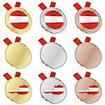fully editable austria vector flag in medal shapes Stock Photo - Royalty-Free, Artist: pilgrimartworks, Code: 400-04170687