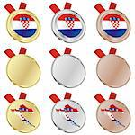 fully editable croatia vector flag in medal shapes Stock Photo - Royalty-Free, Artist: pilgrimartworks, Code: 400-04170694