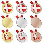 fully editable denmark vector flag in medal shapes Stock Photo - Royalty-Free, Artist: pilgrimartworks, Code: 400-04170697