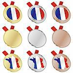 fully editable france vector flag in medal shapes Stock Photo - Royalty-Free, Artist: pilgrimartworks, Code: 400-04170700