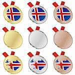fully editable iceland vector flag in medal shapes Stock Photo - Royalty-Free, Artist: pilgrimartworks, Code: 400-04170704