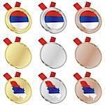 fully editable serbia vector flag in medal shapes Stock Photo - Royalty-Free, Artist: pilgrimartworks, Code: 400-04170724