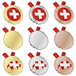 fully editable switzerland vector flag in medal shapes Stock Photo - Royalty-Free, Artist: pilgrimartworks, Code: 400-04170730