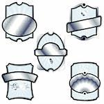 Collection of elegant silver, blue, and black labels inspired by Rococo era designs. Graphics are grouped and in several layers for easy editing. The file can be scaled to any size.