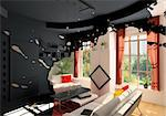 modern living room interior blot effect (3D rendering) Stock Photo - Royalty-Free, Artist: vicnt, Code: 400-04174736