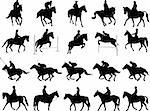 20 high quality horsemen silhouettes - vector Stock Photo - Royalty-Free, Artist: nebojsa78, Code: 400-04176523
