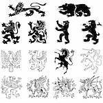 Heraldry Animals Vector Set.  Shapes are isolated and easily edited. Stock Photo - Royalty-Free, Artist: eyestalk, Code: 400-04177131