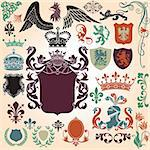 Heraldry Icon Vector Set.  Colors are easily editable. Stock Photo - Royalty-Free, Artist: eyestalk, Code: 400-04177132