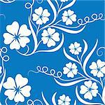 illustration drawing of beautiful white flower in blue background