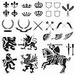 Heraldry Icon Vector Set.  Colors are easily editable. Stock Photo - Royalty-Free, Artist: eyestalk, Code: 400-04177958