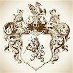 Ornate coat of arms vector illustration.  Colors can be easily edited. Stock Photo - Royalty-Free, Artist: eyestalk, Code: 400-04179317