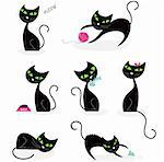 Black cats in various poses. Vector cartoon illustration. Stock Photo - Royalty-Free, Artist: lordalea, Code: 400-04179383