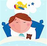 Cute small boy sleeping in bed with teddy bear and dreaming about new toy. Vector cartoon illustration.