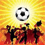 Huge Crowd Celebrating Soccer Game. Editable Vector Image