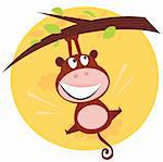 Vector cartoon illustration of brown cute monkey hanging from tree branch. Sunset scene behind monkey.