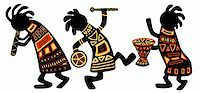 Dancing musicians. African national patterns Stock Photo - Royalty-Freenull, Code: 400-04193672