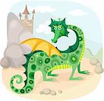vector illustration of a cute fairy dragon Stock Photo - Royalty-Free, Artist: nem4a, Code: 400-04194884