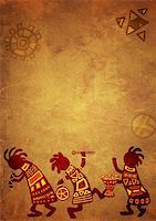 Dancing musicians. African national patterns Stock Photo - Royalty-Freenull, Code: 400-04196820