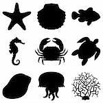 Set of 9 black silhouettes of sea animals. Stock Photo - Royalty-Free, Artist: timurock, Code: 400-04200196