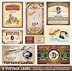 Vintage Labels Collection - Set of 8 design elements with original antique style Stock Photo - Royalty-Free, Artist: DavidArts, Code: 400-04200692