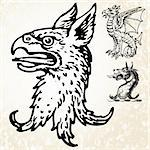 Set of illustrated mythical animals. Easy to edit colors. Stock Photo - Royalty-Free, Artist: createfirst, Code: 400-04201311