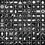 100 white icons for web aplications Stock Photo - Royalty-Free, Artist: hibrida13, Code: 400-04202508