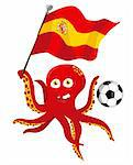 Octopus Soccer Player Holding Spain Flag. Editable Vector Illustration Stock Photo - Royalty-Free, Artist: gubh83, Code: 400-04202586