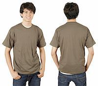 Young male with blank chestnut t-shirt, front and back. Ready for your design or logo. Stock Photo - Royalty-Freenull, Code: 400-04202802
