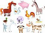 vector illustration of a new farm animal set