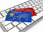 blue and red credit cards on a computer keyboard Stock Photo - Royalty-Free, Artist: daboost, Code: 400-04204341