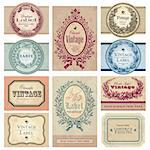 set of vintage labels; scalable and editable vector illustrations; Stock Photo - Royalty-Free, Artist: milalala, Code: 400-04204762