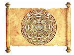 Maya calendar on ancient parchment - over white Stock Photo - Royalty-Free, Artist: frenta, Code: 400-04206348
