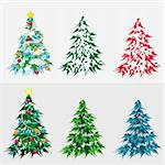 Set Christmas tree. Illustration in vectoor format EPS. Stock Photo - Royalty-Free, Artist: orensila, Code: 400-04207294