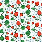 Seamless background of strawberries, repeating design, full scalable vector graphic included Eps v8 and 300 dpi JPG. Stock Photo - Royalty-Free, Artist: ElaKwasniewski, Code: 400-04207793
