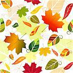 Floral seamless pattern of colorful leaves (vector) Stock Photo - Royalty-Free, Artist: OlgaDrozd, Code: 400-04208688