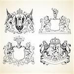 Animal crest illustrations. Easy to edit or change color. Stock Photo - Royalty-Free, Artist: createfirst, Code: 400-04209644