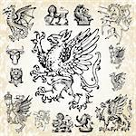 Set of detailed mythical animal vectors. Dragons, lions, griffins, eagles and more. Stock Photo - Royalty-Free, Artist: createfirst, Code: 400-04209660