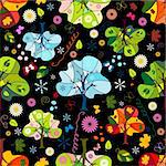 Seamless floral dark pattern with trees, flowers and butterflies (vector) Stock Photo - Royalty-Free, Artist: OlgaDrozd, Code: 400-04210768