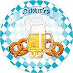 Round  Oktoberfest Celebration design with beer and pretzel Stock Photo - Royalty-Free, Artist: Dazdraperma, Code: 400-04211095